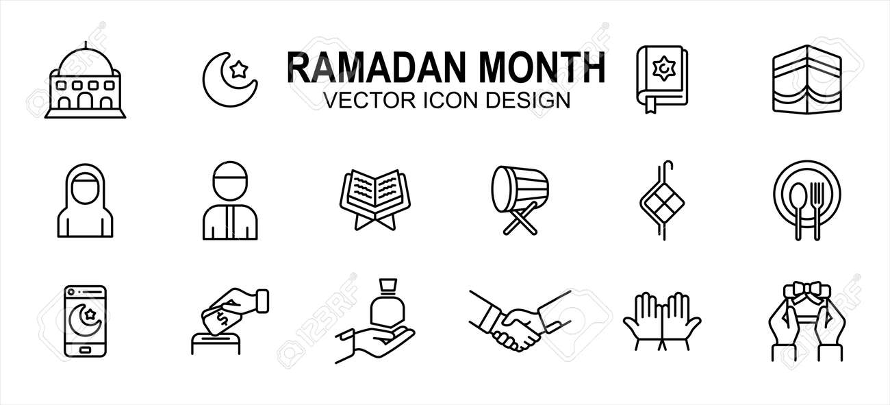 Islam Ramadan month theme related vector icon user interface graphic design. Contains such icons as mosque, moon, star, holy quran, mecca, ka'bah, fasting, drum, giving, pray, prayer, handshake - 169744597
