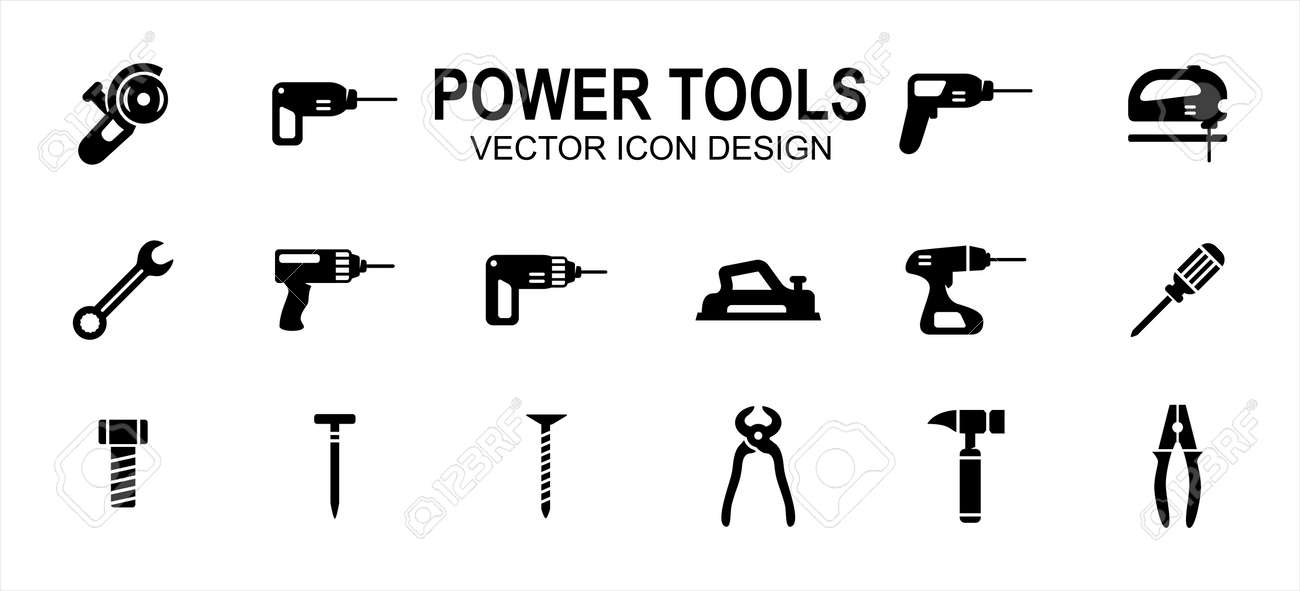 construction Power tools related vector icon user interface graphic design. Contains such icons as grinder, driller, impact drill, demolition, jig saw, wrench, cordless, plane, planer, hammer, plier - 169744601