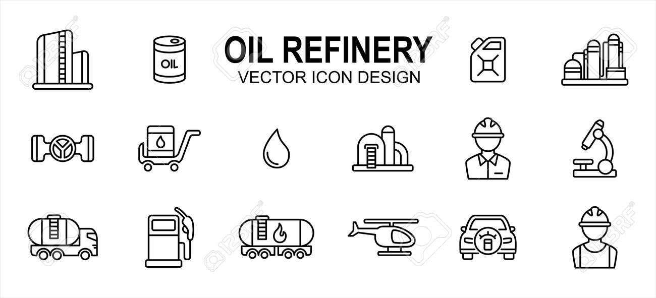Oil drilling refinery industry related vector icon user interface graphic design. Contains such icons as rig, tower, drill, driller, oil, tank, distillery, pump, truck, pipe, spurt, squirt, valve, - 169744602
