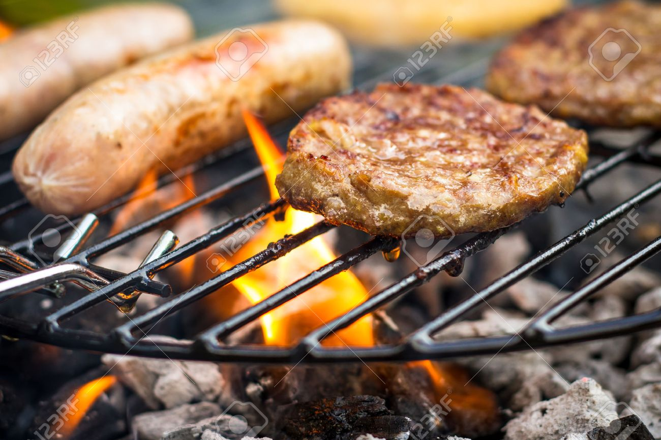 Meat Cooking On A Barbecue BBQ Grill Stock Photo, Picture And ...