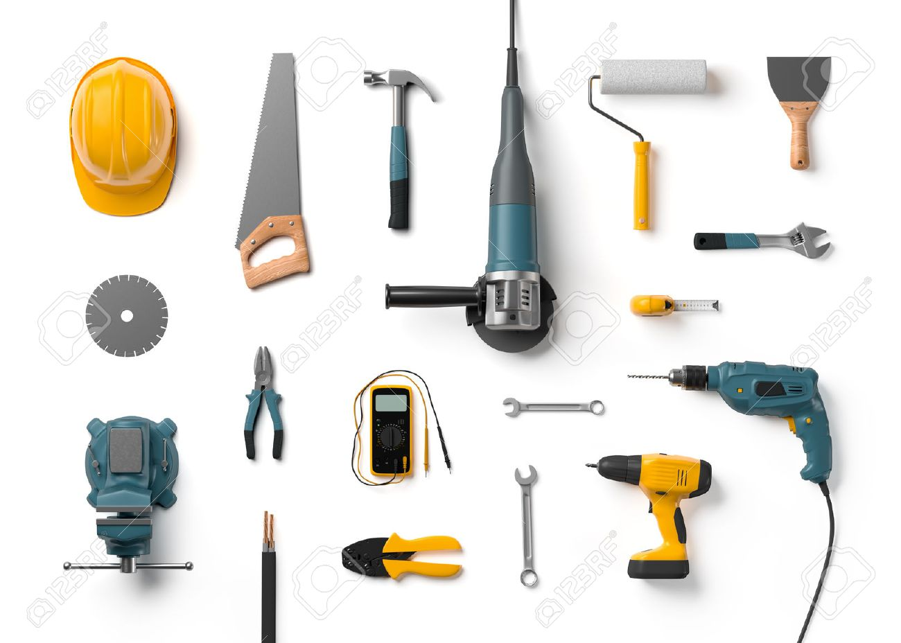 helmet, drill, angle grinder and other construction tools on a white background isolated - 57918222
