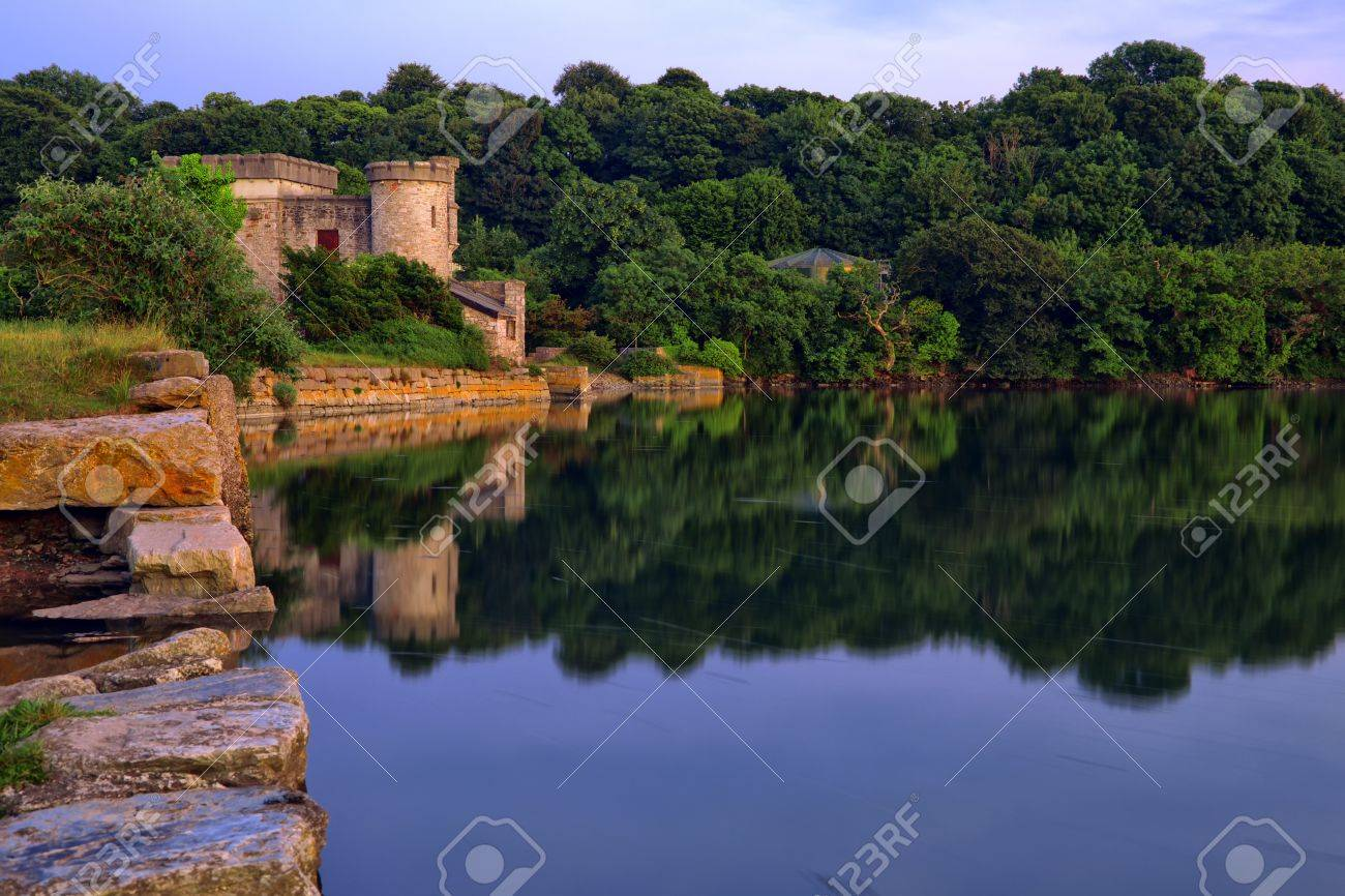 Calming reflections on Devon Lake, UK Stock Photo - 13835063