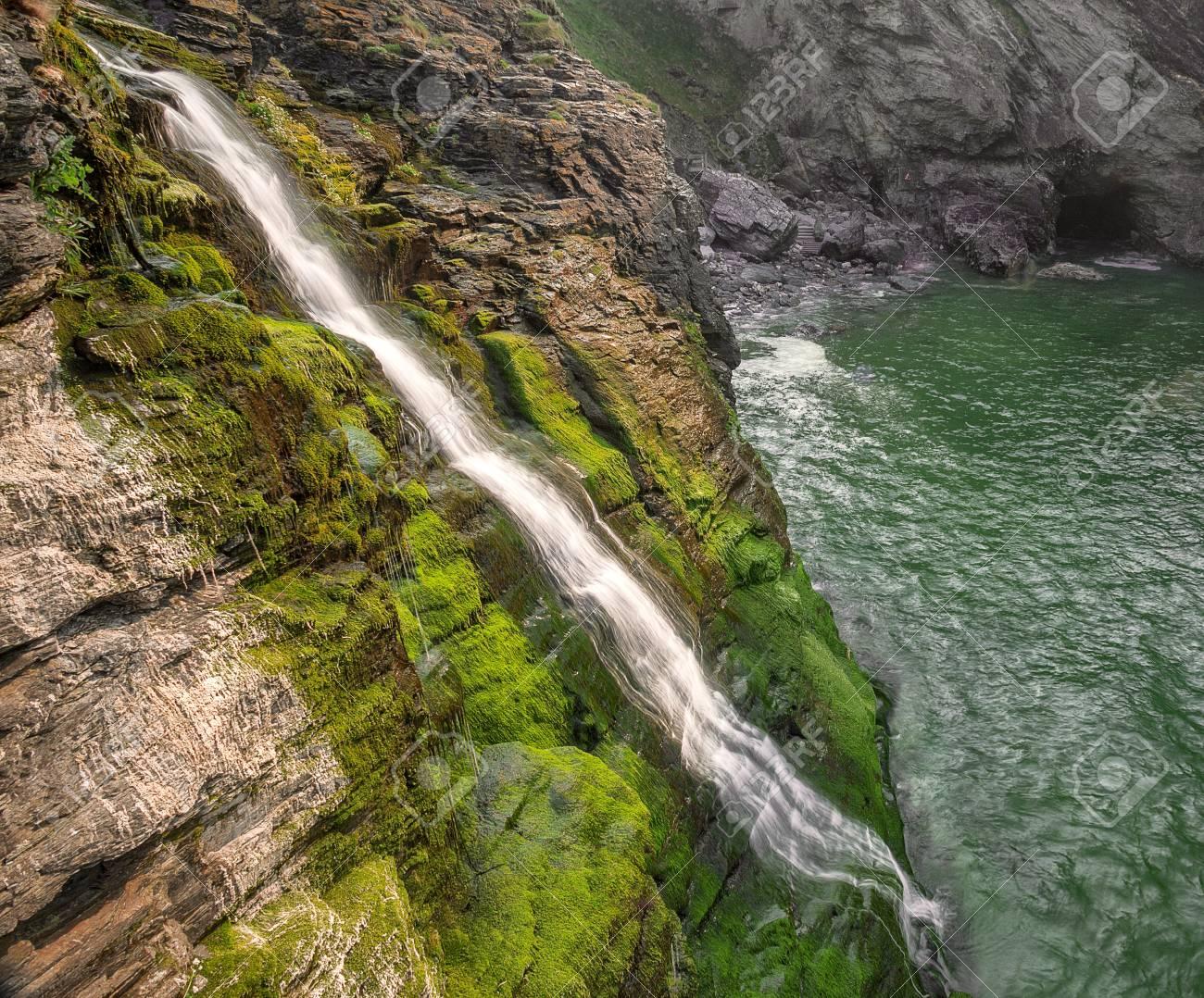 Cornish Seascape Waterfall Stock Photo - 13828613