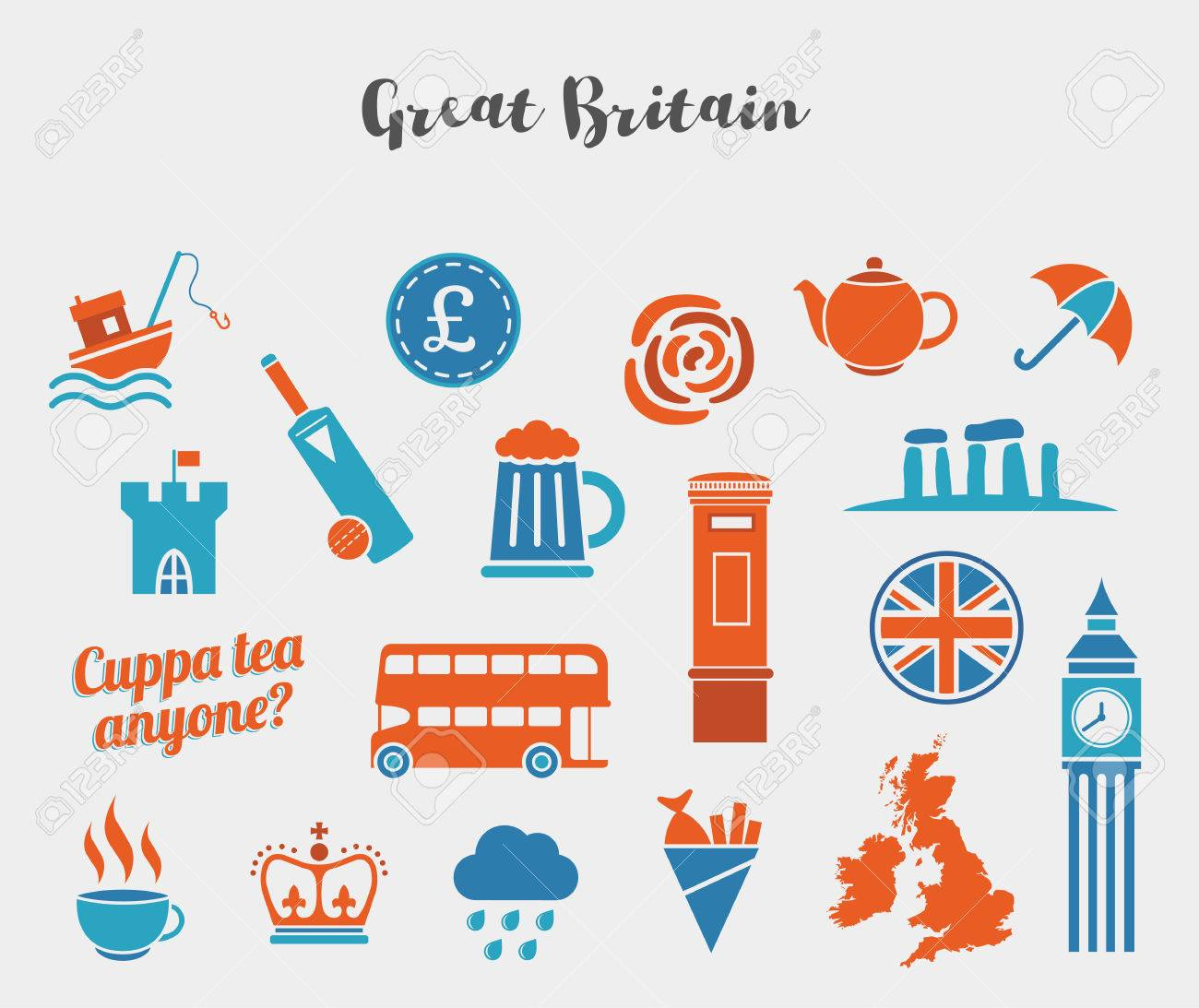 orange and blue great britain icon vector set flat icons for