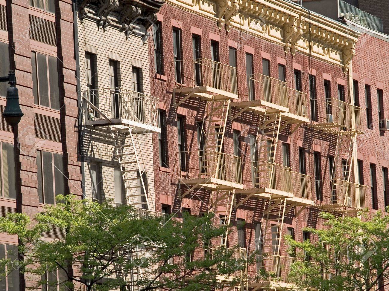 Some Fireescapes On Old Brick Apartment Buildings In Manhattan   Brick  Apartment Building
