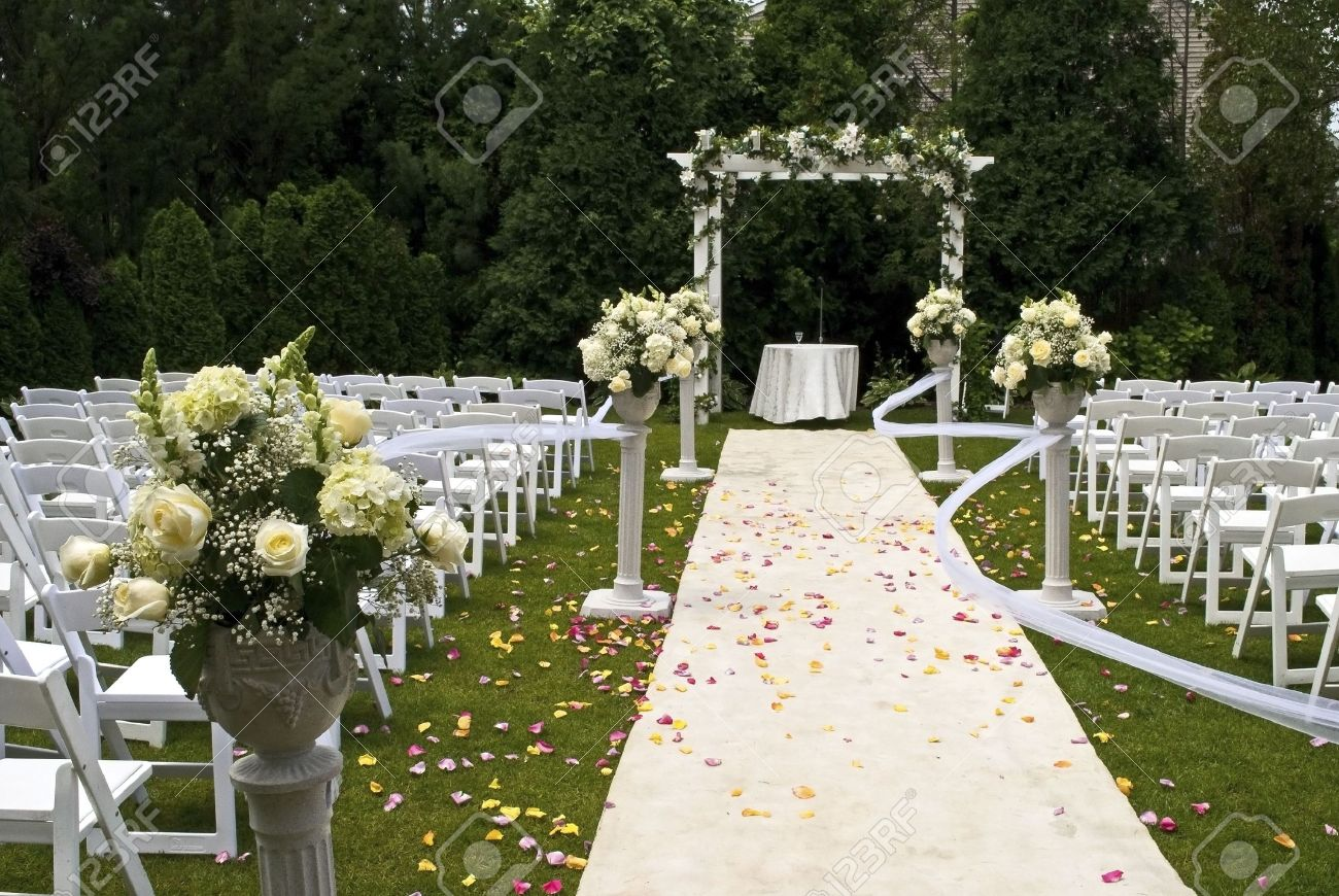 a white wedding carpet covered in rose petals and the scene of
