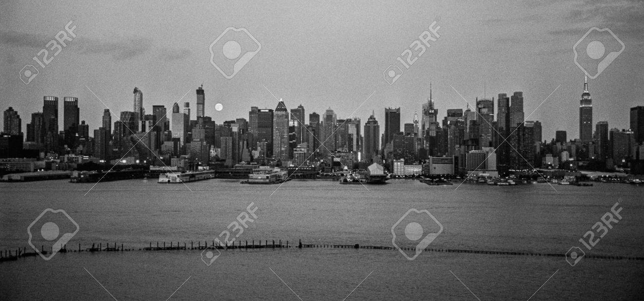 New york august 10 a black and white panoramic film photograph