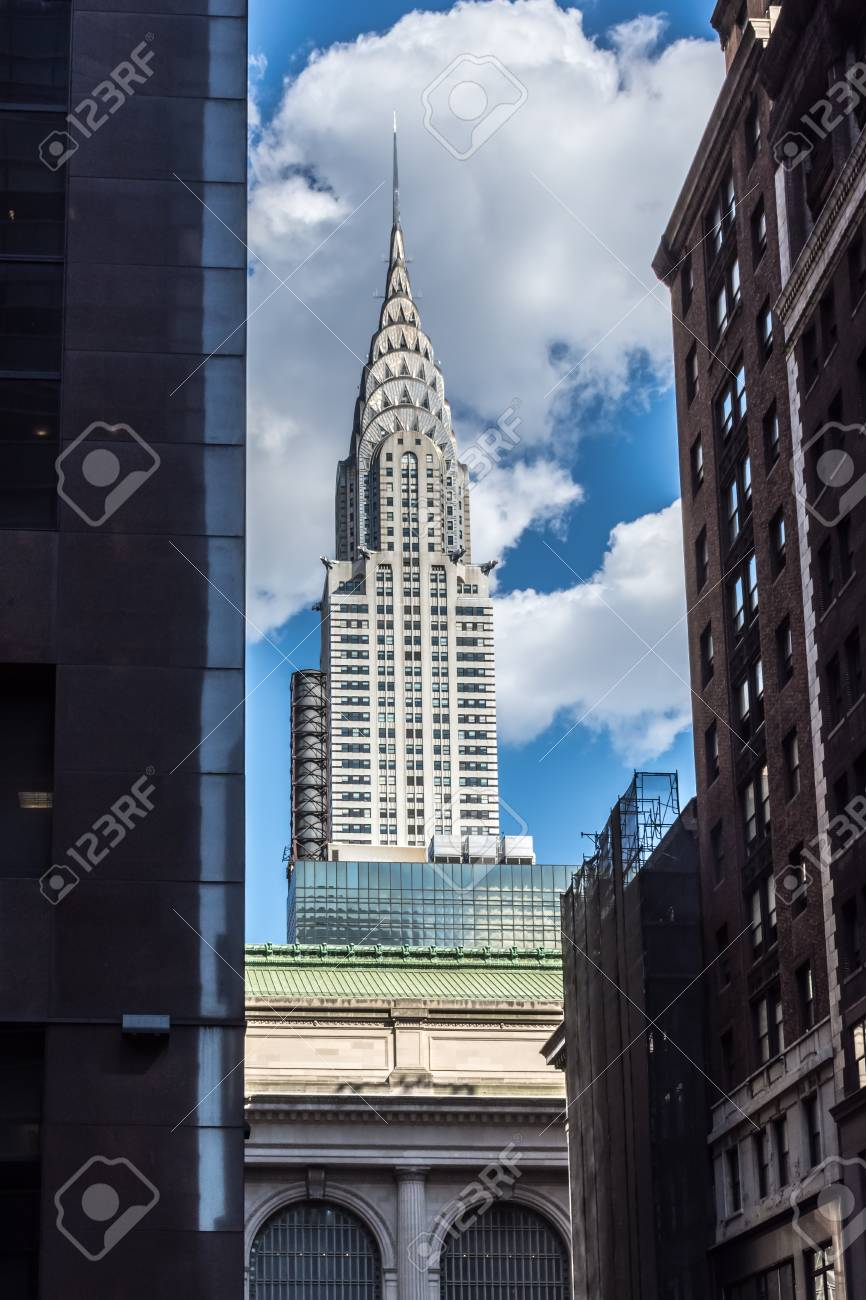 7c382149806 NEW YORK-JULY 22  The iconic Chrysler Building frames by surrounding  buildings on a