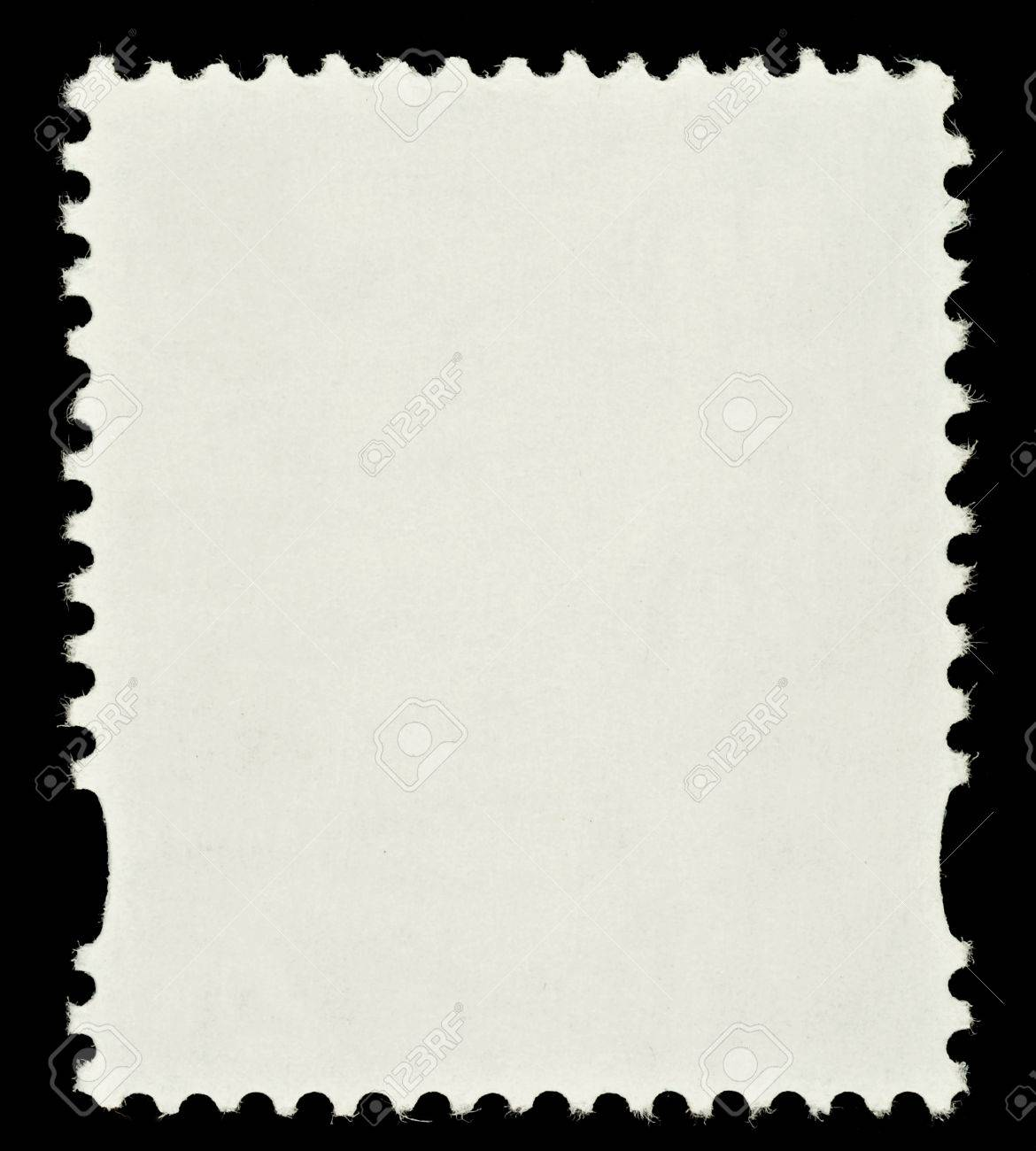 Blank Postage Stamp Framed By Black Border Stock Photo