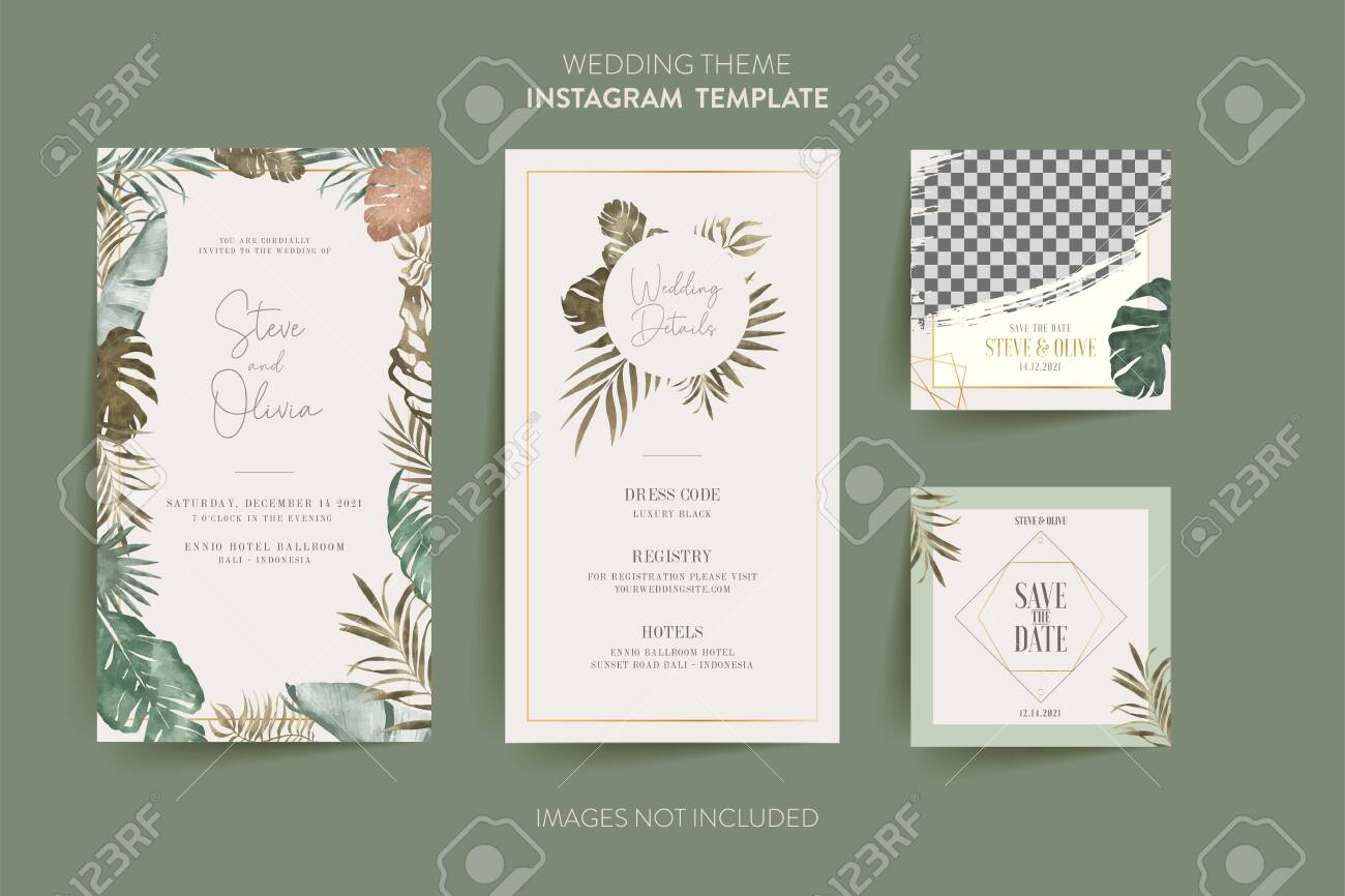 Social Media template for wedding invitation card with tropical..