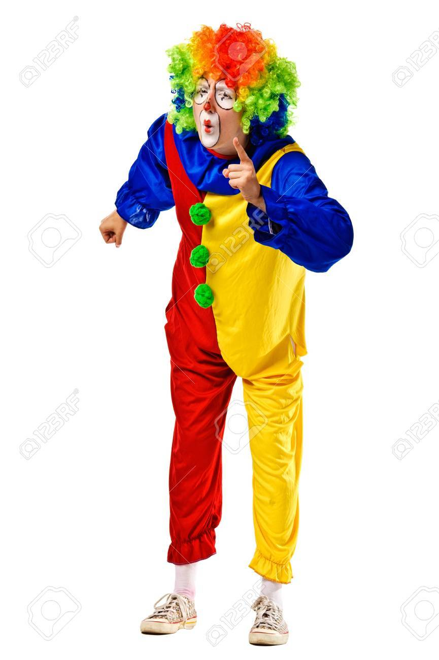 Angry clown shaking his finger and frowning  Isolated Stock Photo - 15361338