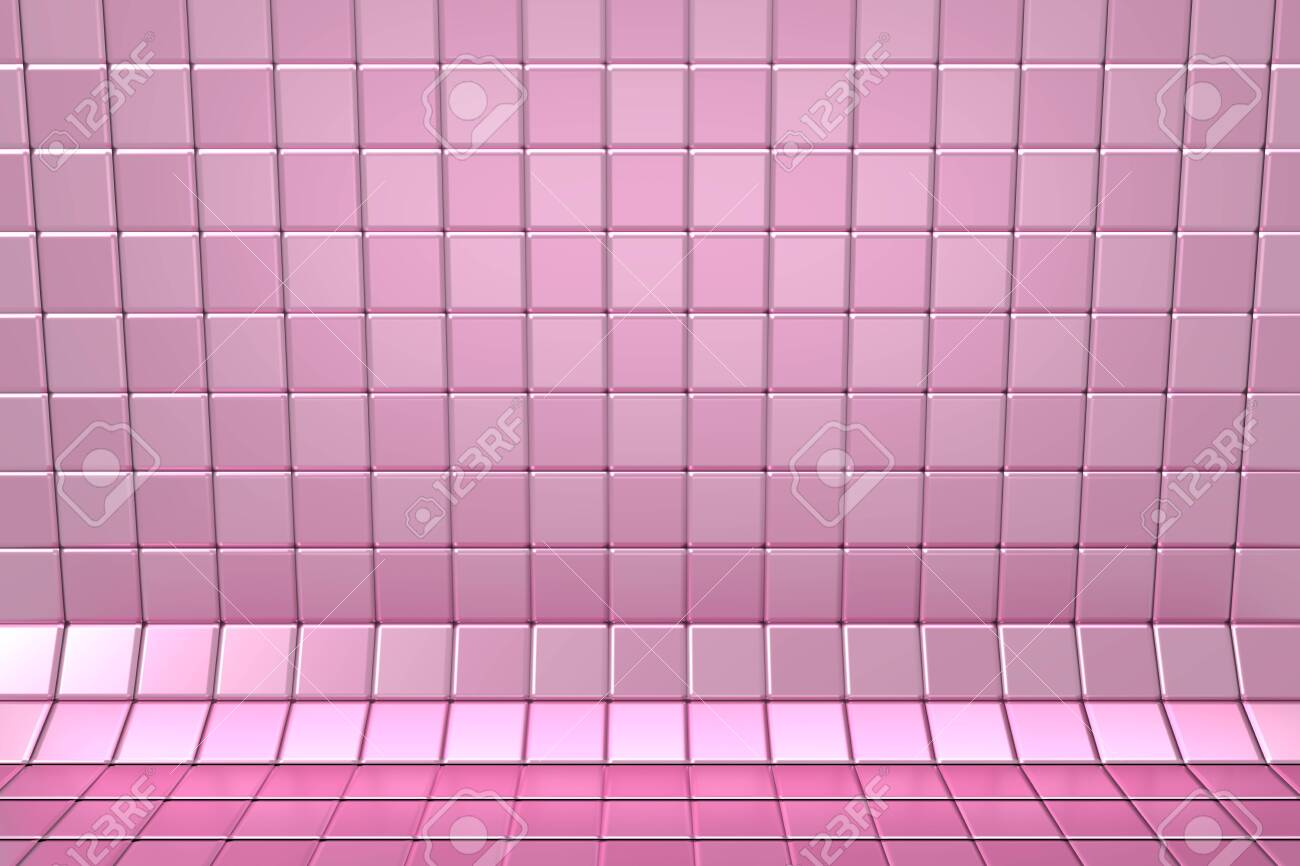 134769728 wall and floor tiled pattern with a curving layer two pink colors mosaic background texture in chess