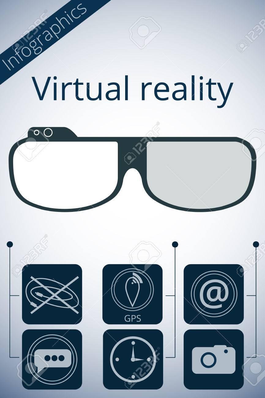 nuevo estilo 0213b 1b230 Gafas de realidad virtual. Promoción infografía vector.