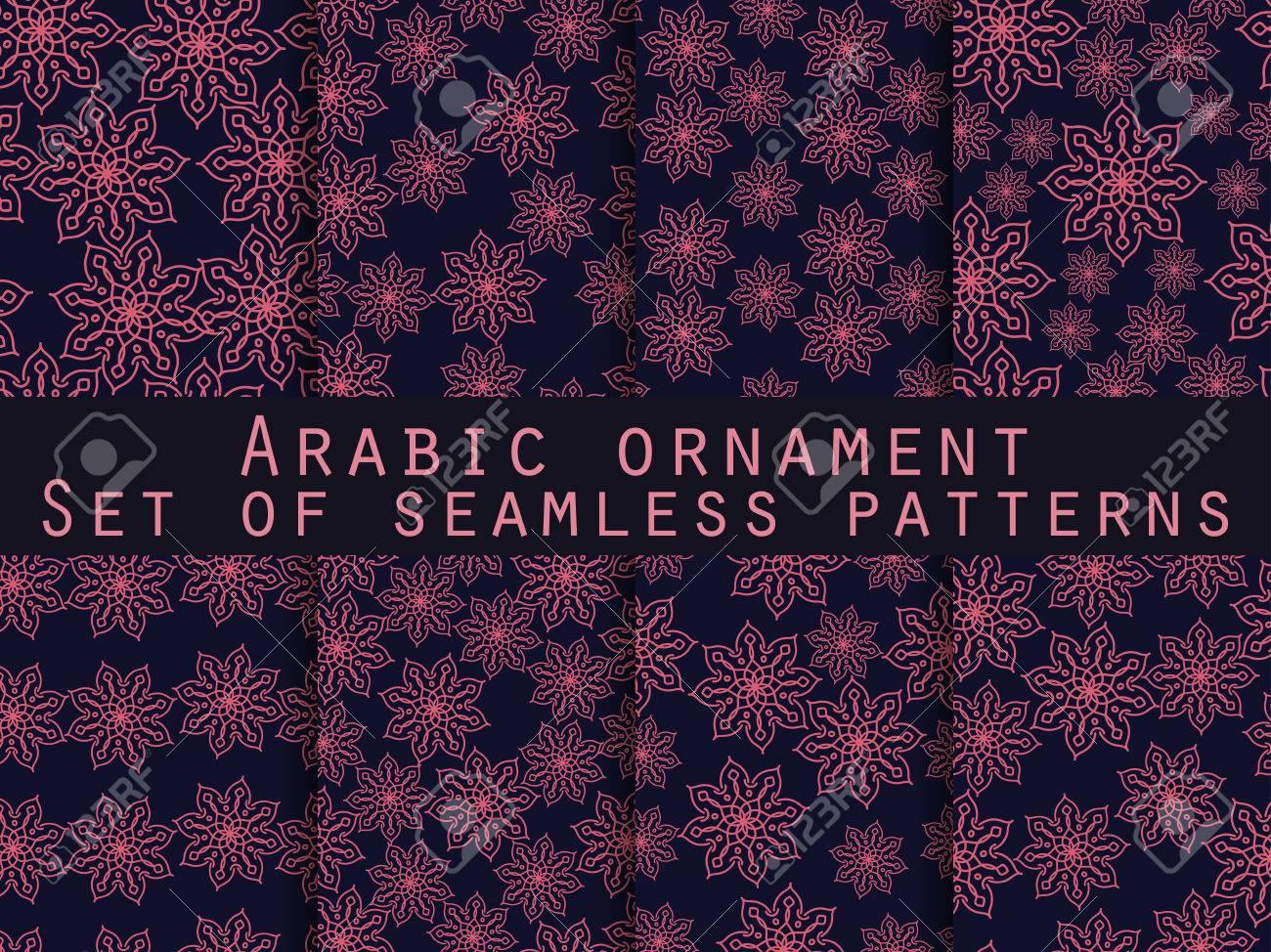 Patrón árabe. Ornamento Islámica. Conjunto De Patrones Sin Fisuras ...