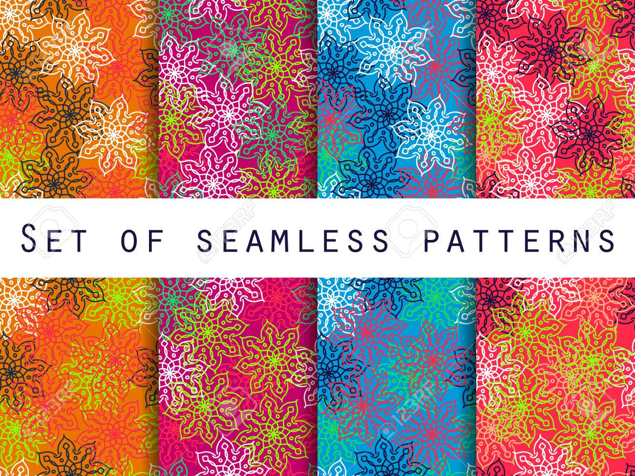 Boho Seamless Pattern Ethnic And Tribal Set For Wallpaper Bed Linen