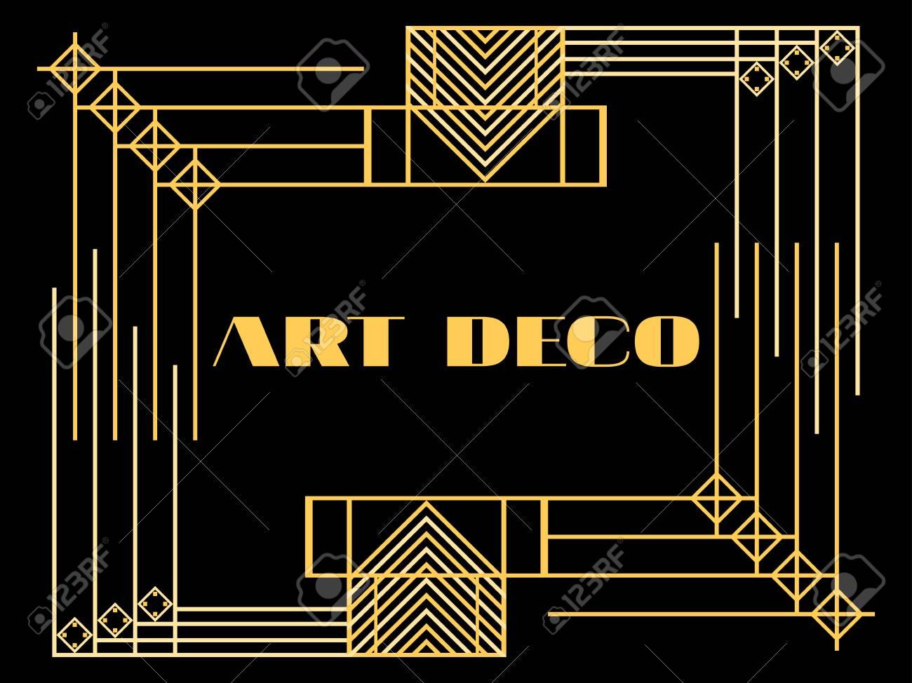 Art deco frame  Art deco geometric vintage frame  Retro style