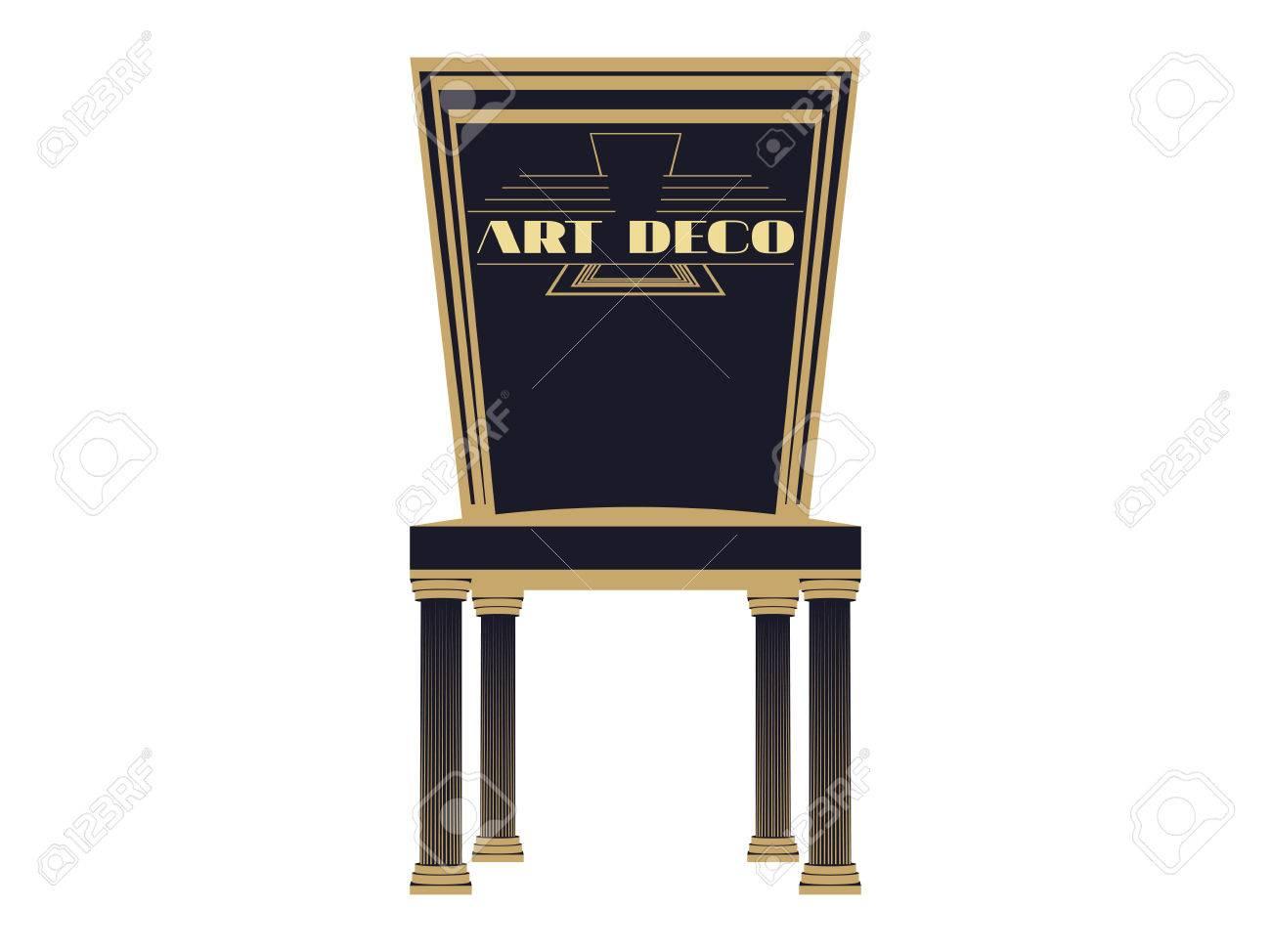 Art Deco Fauteuil.Chaise Art Deco Chaise Vintage Fauteuil Vue De Face Gros Plan Fauteuil Isole Sur Un Fond Blanc