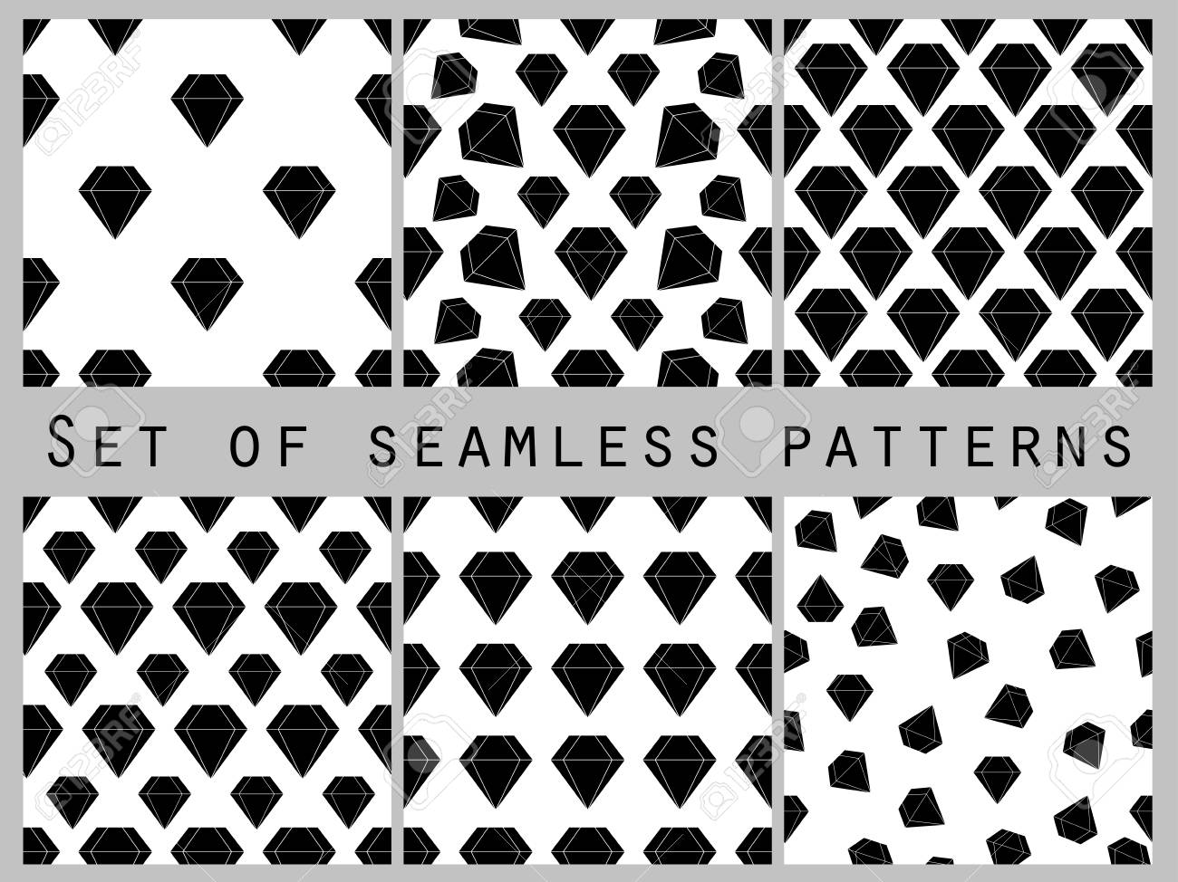 Set Of Seamless Patterns With Diamonds Black And White Color The Faceted