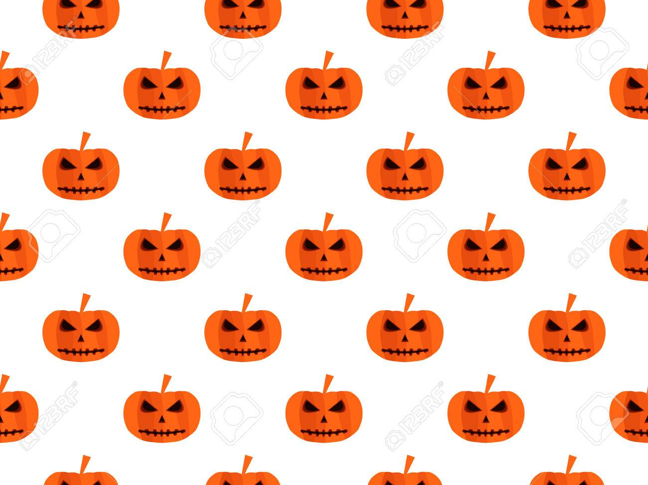 Halloween Seamless Background With Pumpkin For Wallpaper Bed