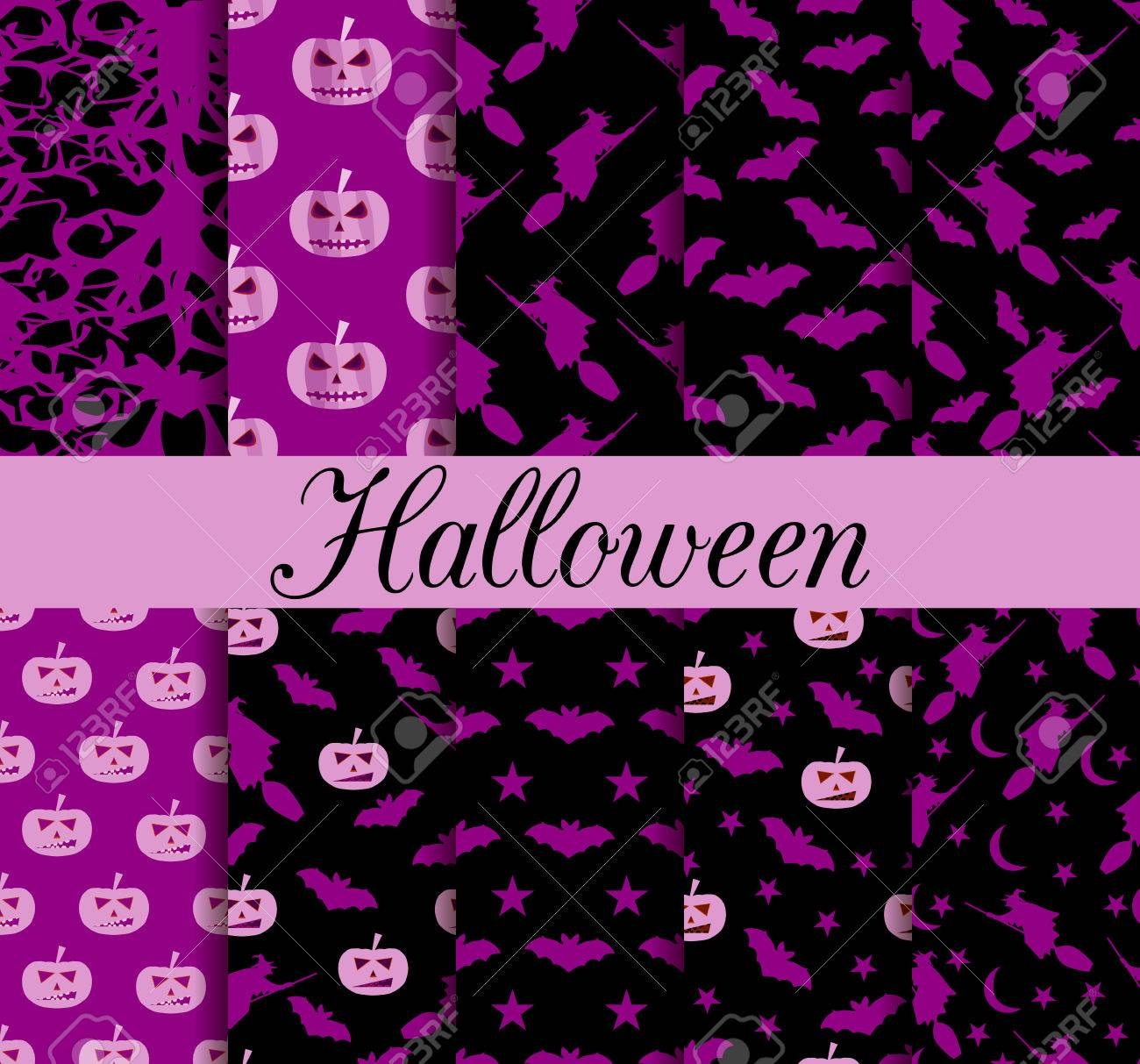Ten Halloween Seamless Patterns Pattern With Lamp Jack Witch With Bats Halloween Symbols