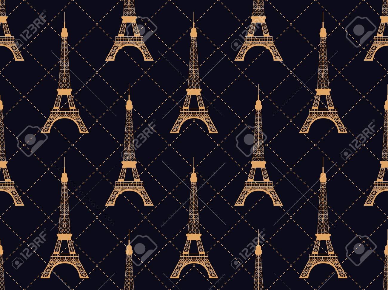 Art Deco Seamless Pattern With Eiffel Tower Gold Color Places