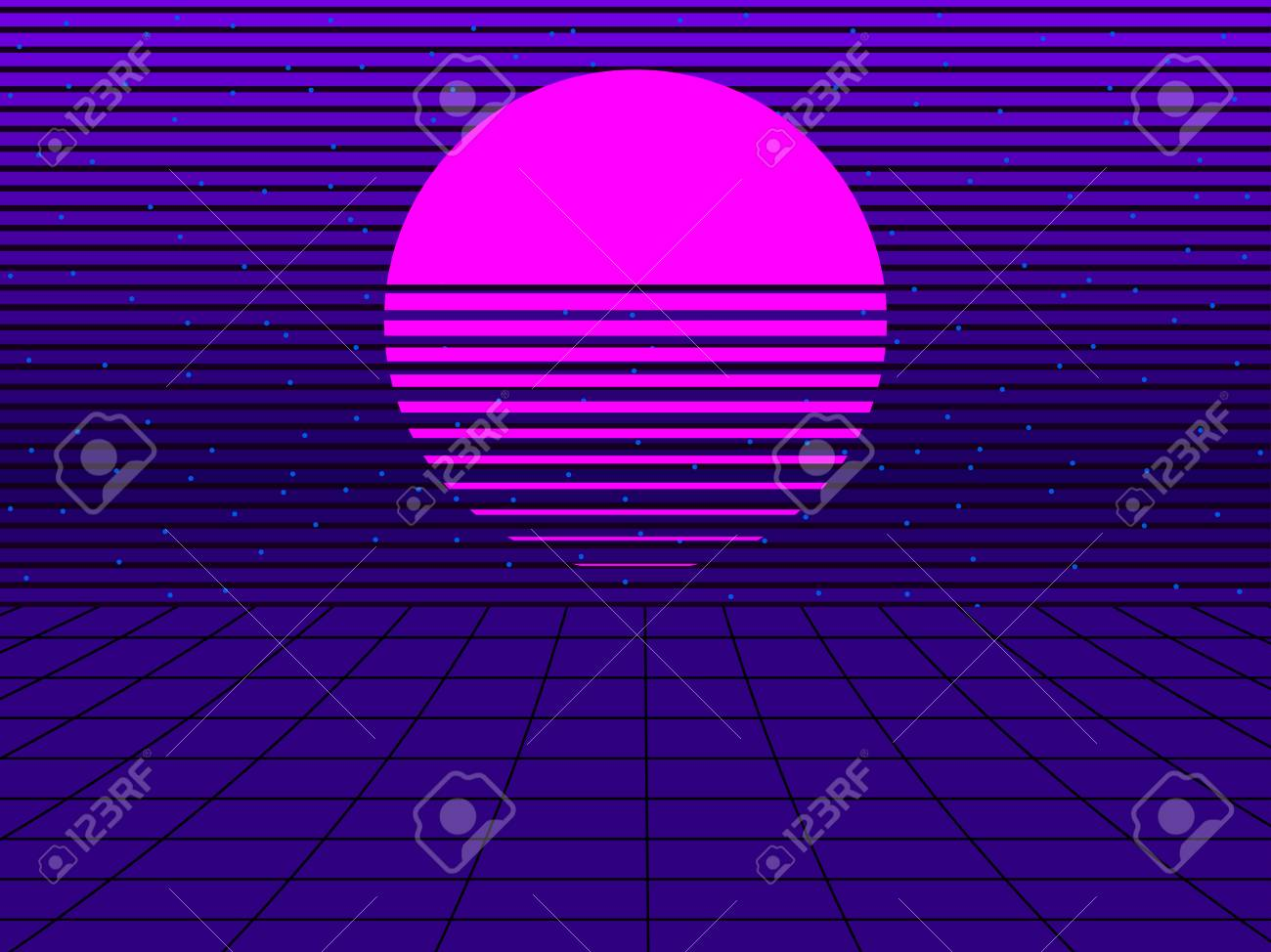 Neon sunset in the style of 80s  Synthwave retro futuristic background