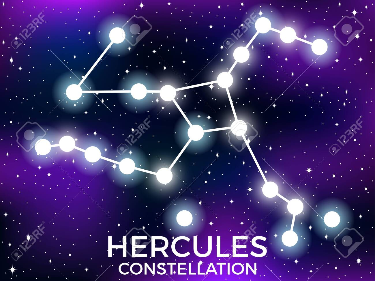 Hercules Constellation Starry Night Sky Cluster Of Stars And