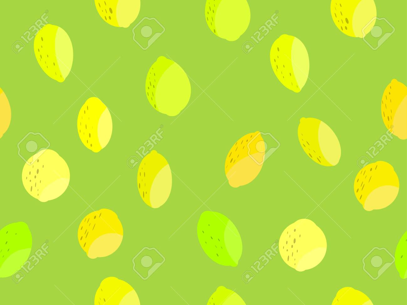 Lemon Seamless Pattern Yellow And Green Lemons And Lime