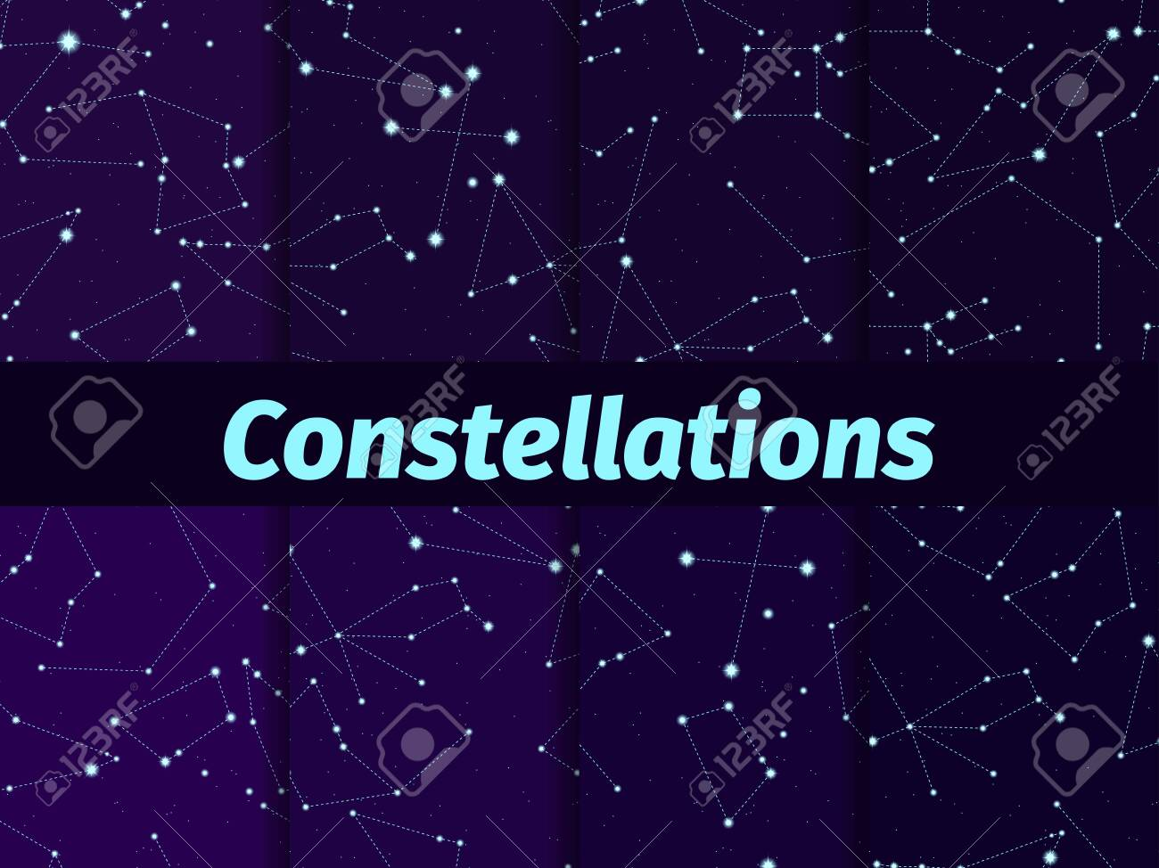 Constellations seamless pattern set. Starry night sky map. Cluster of stars and galaxies. Deep space. Vector illustration - 152218542