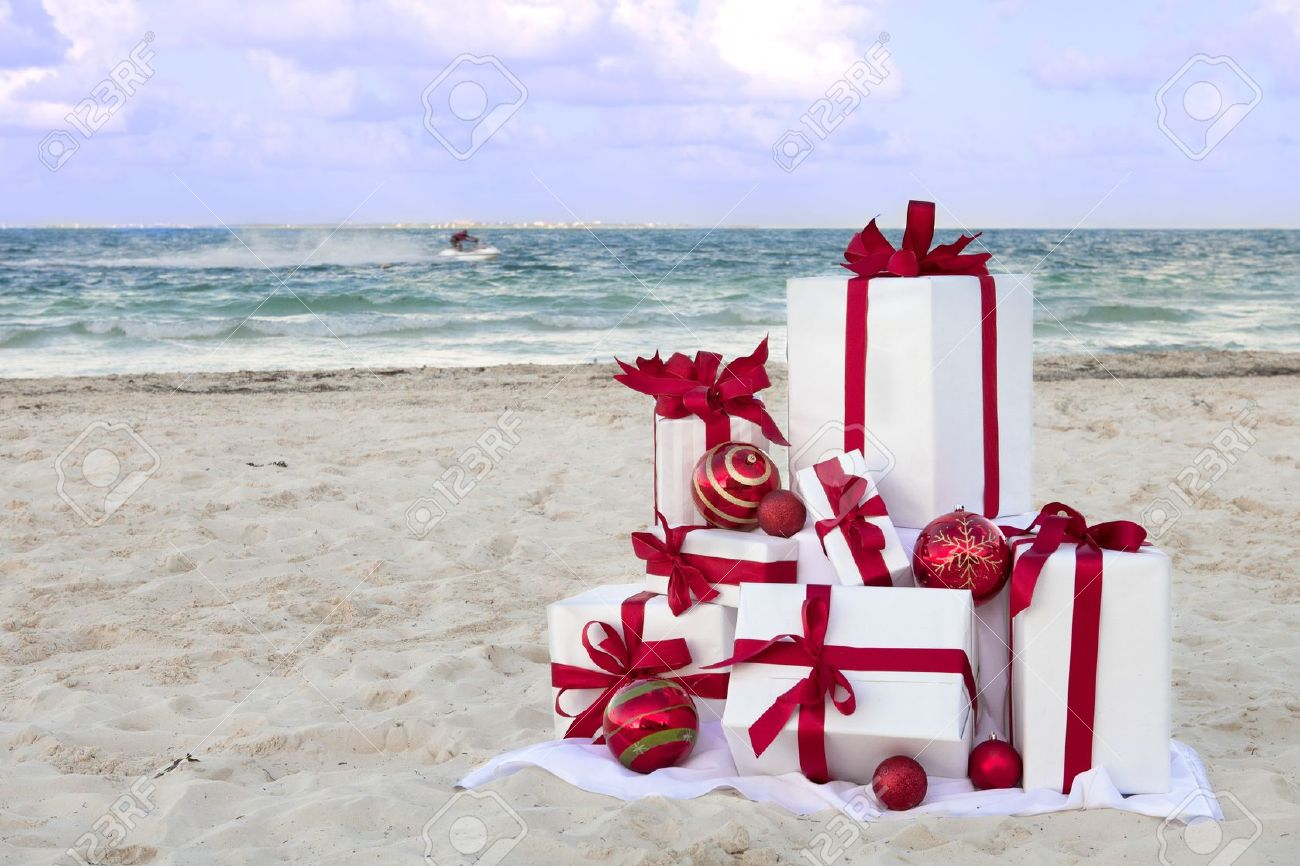 Christmas Gifts On A Tropical Beach With A Jetski In The ...