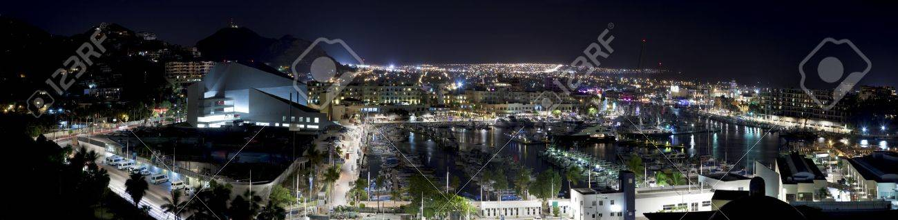 Panoramic view of Cabo San Lucas, Mexico at night.  5 pictures were used to make this Panoramic image Stock Photo - 11995669