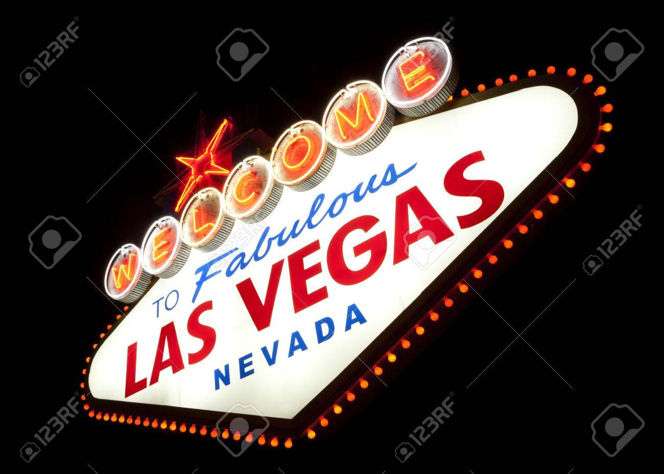 Classic Welcome to Fabulous Las Vegas, Nevada sign - night Stock Photo - 17055555