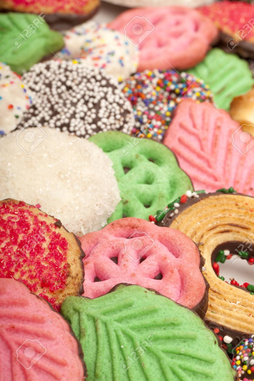 Close Up Of Colorful Christmas Cookies