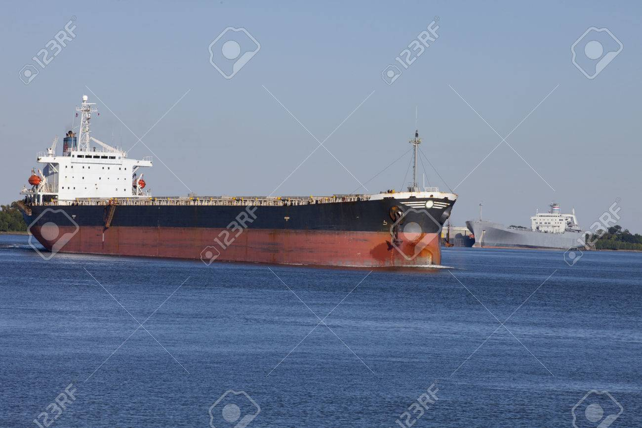 Tanker On The Mississippi River In New Orleans Louisiana Going