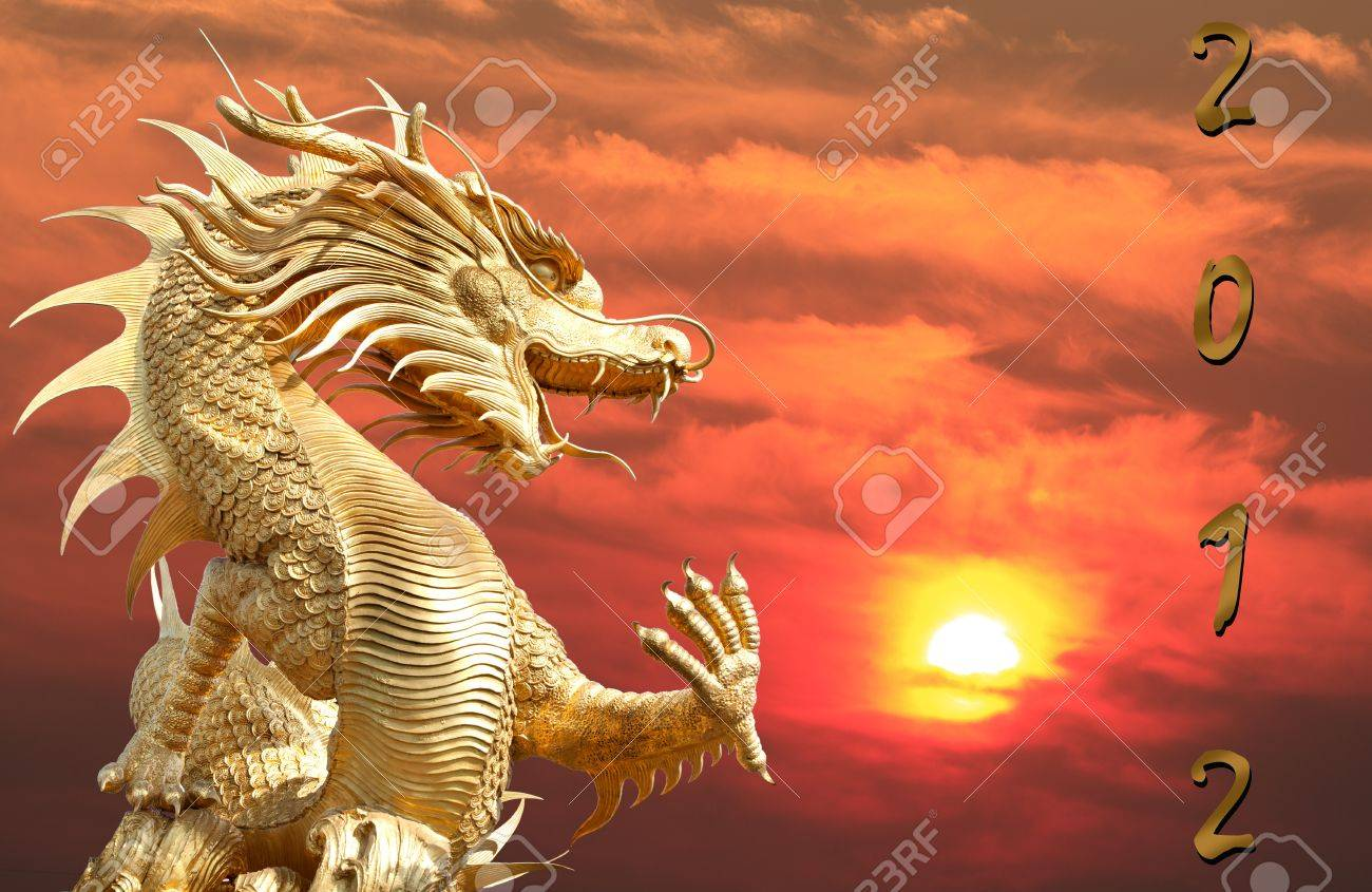 giant golden chinese dragon for year 1212 stock photo picture