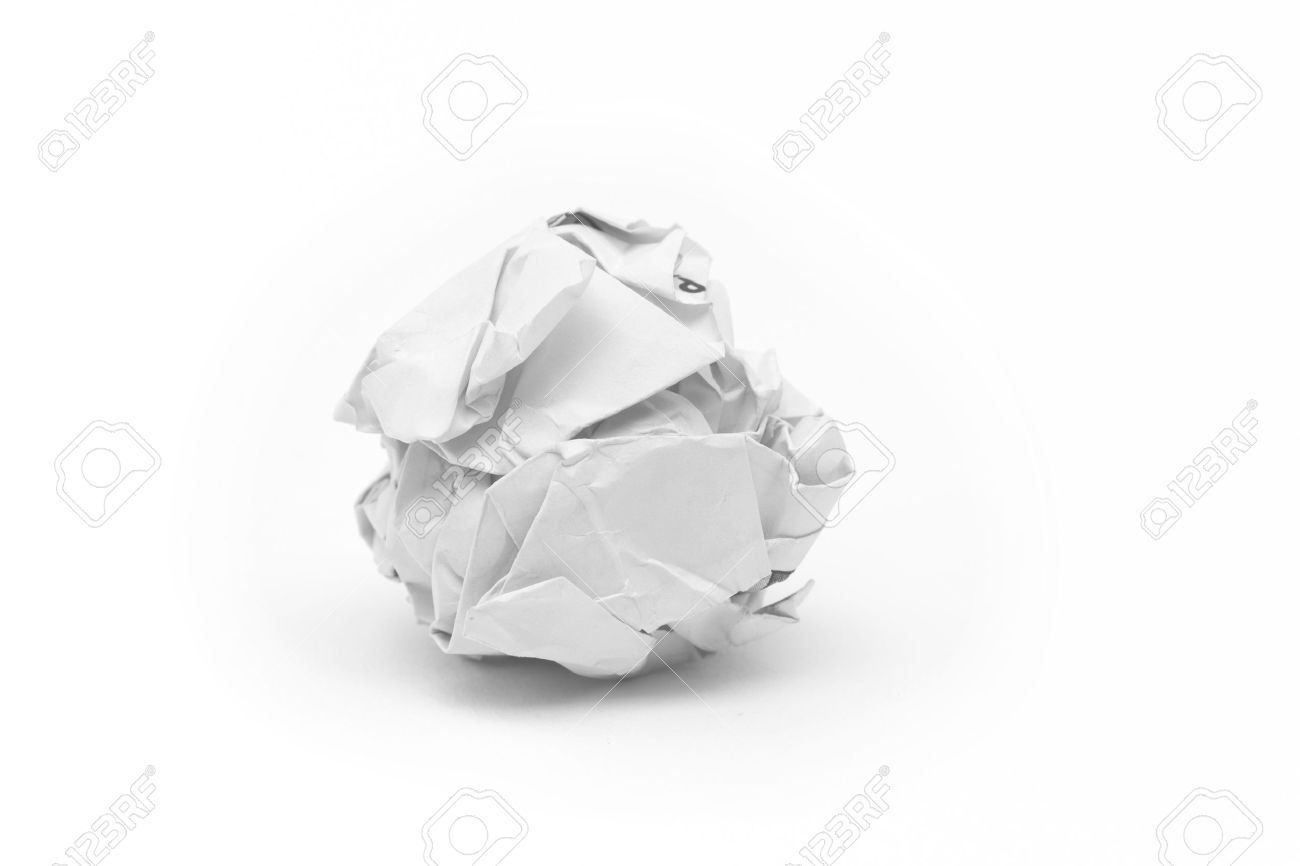 close-up of crumpled paper ball with white background stock photo