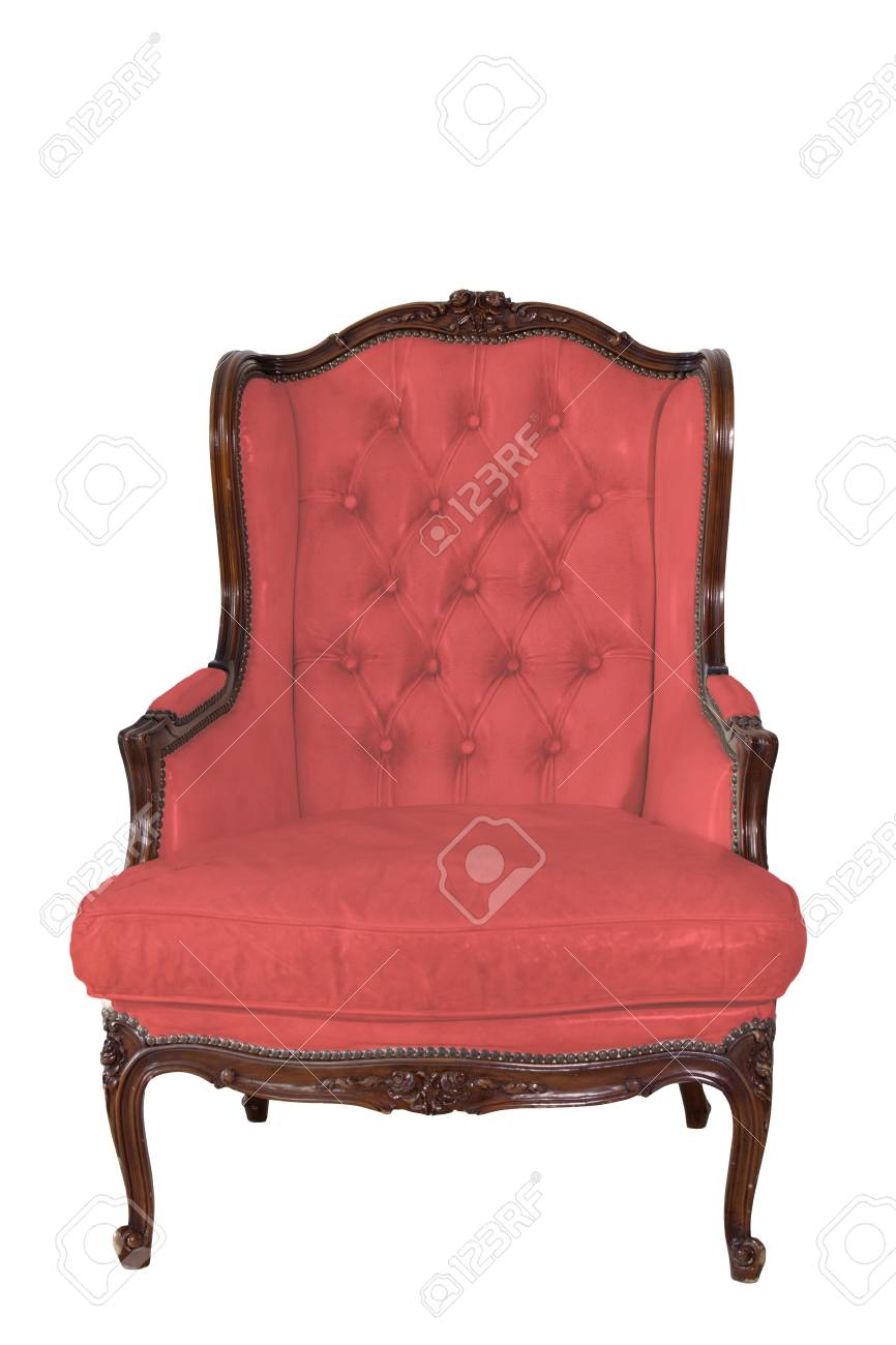 ancient red leather armchair whit white wall background. Stock Photo - 13933666