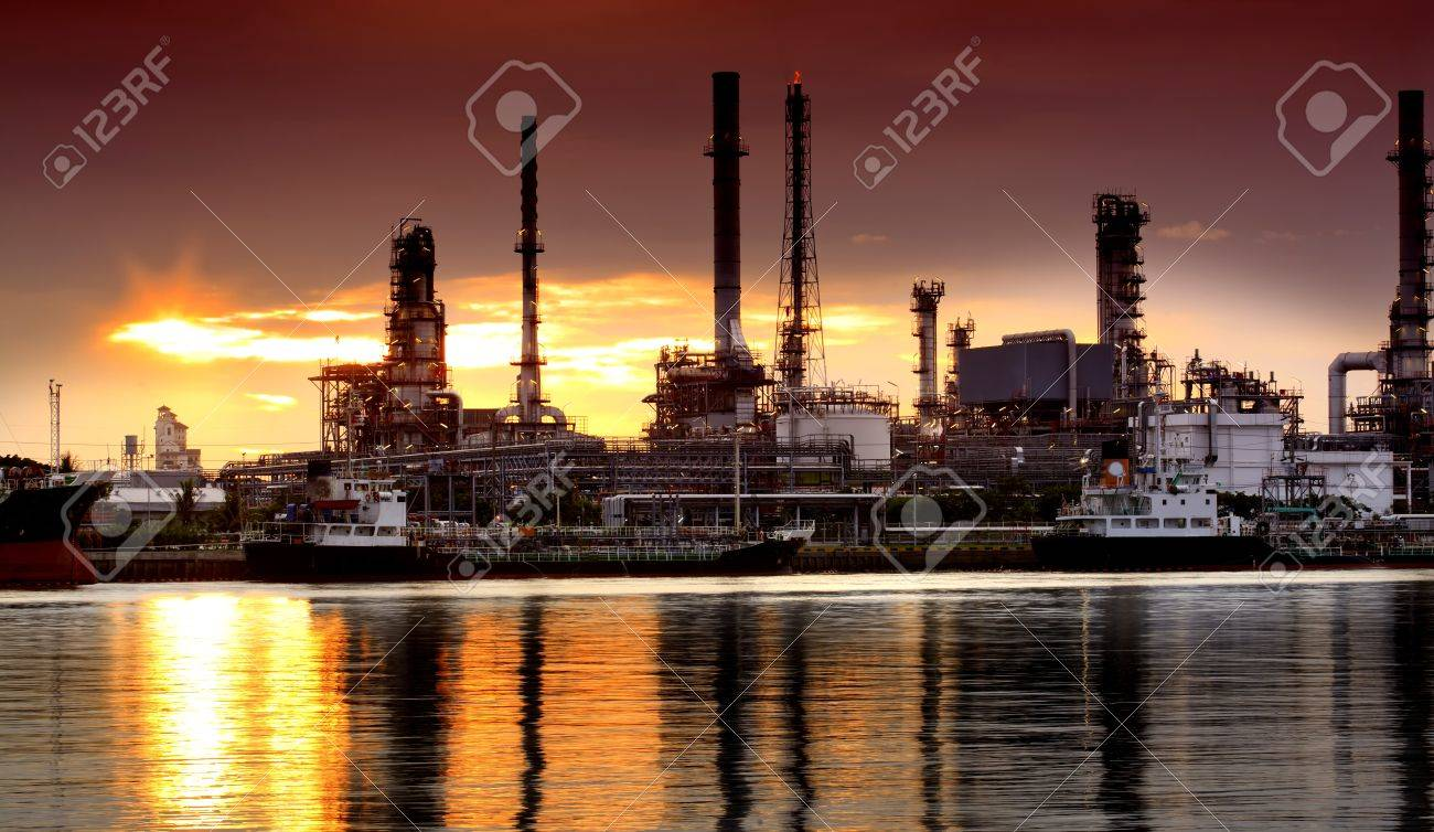 Landscape of river and oil refinery factory between sun rise time in Chao praya river, Bangkok, Thailand. - 14297295
