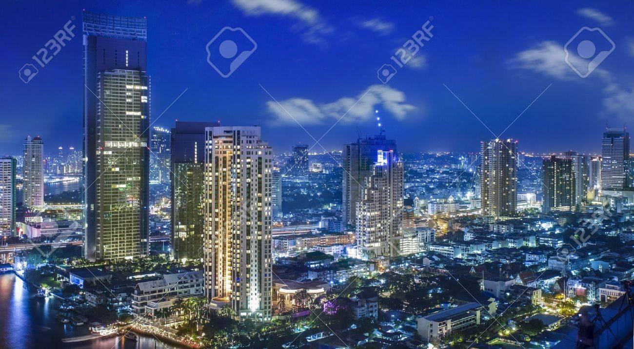 City town at night in Bangkok, Thailand - 16147782