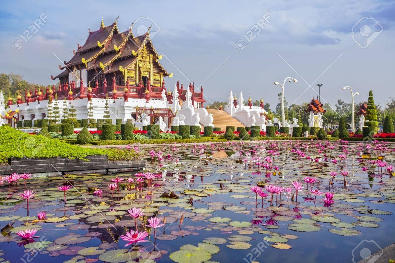 Chiangmai royal pavilion with lotus flower stock photo picture chiangmai royal pavilion with lotus flower stock photo 18584392 dhlflorist Gallery