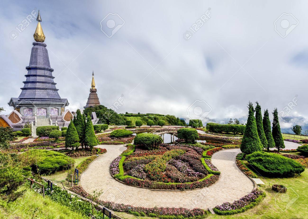 Landscape of Two pagoda at Doi Inthanon, chiangmai - Thailand Stock Photo - 21825432