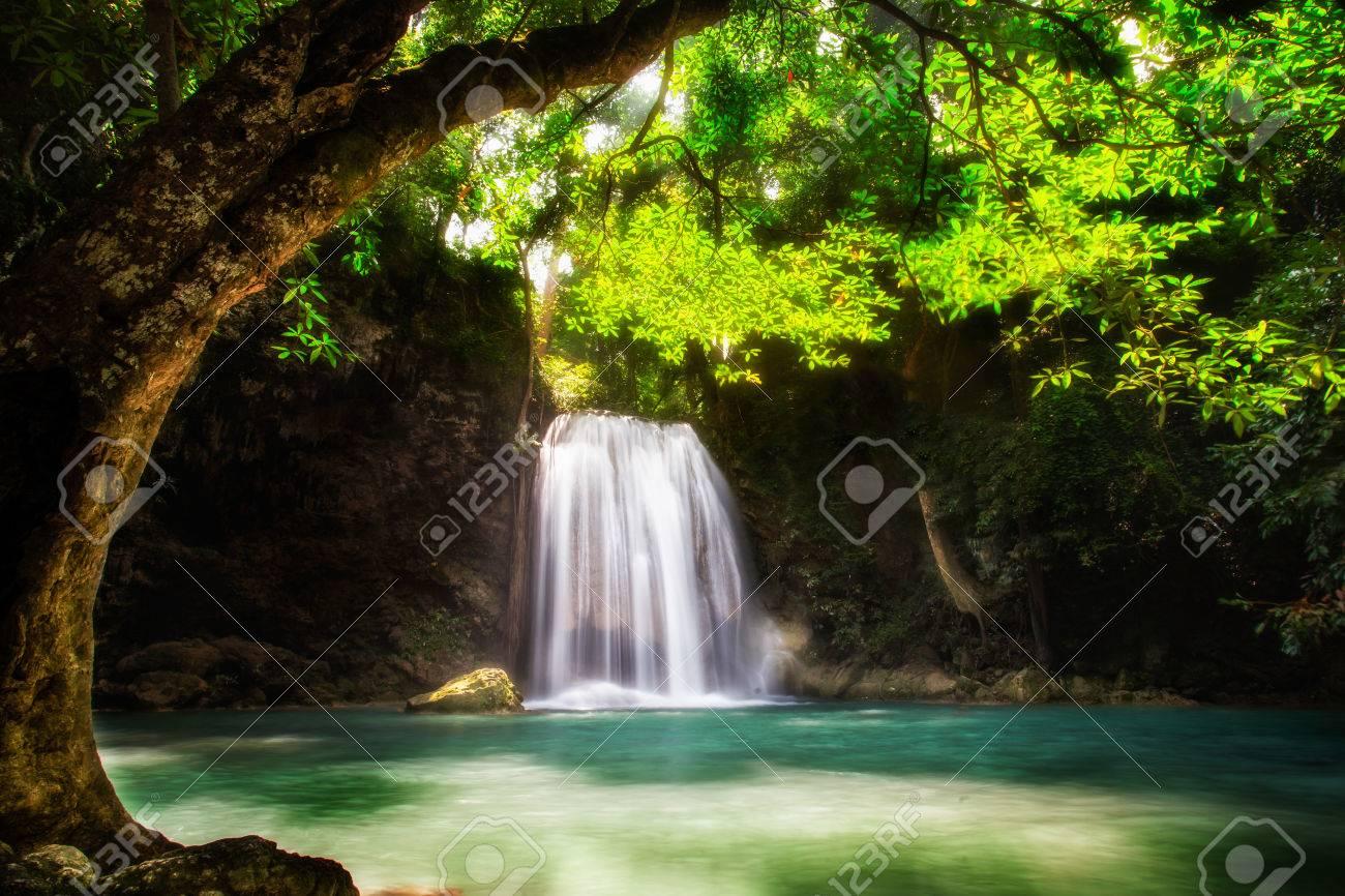 Level five of Erawan Waterfall n Kanchanaburi Province, Thailand Stock Photo - 25760781