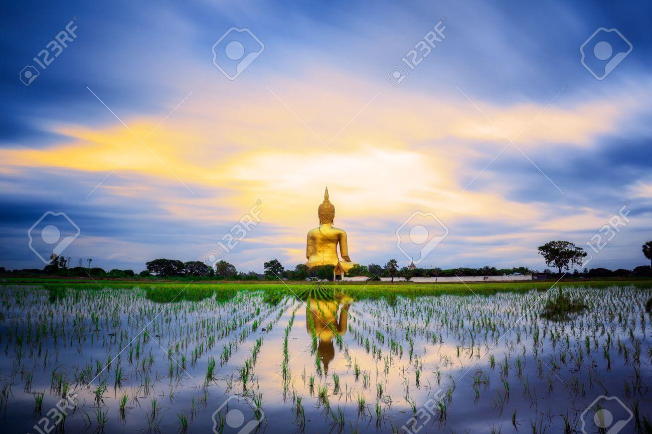 Wat Muang with gilden giant big Buddha statue in Thailand Standard-Bild - 31864890
