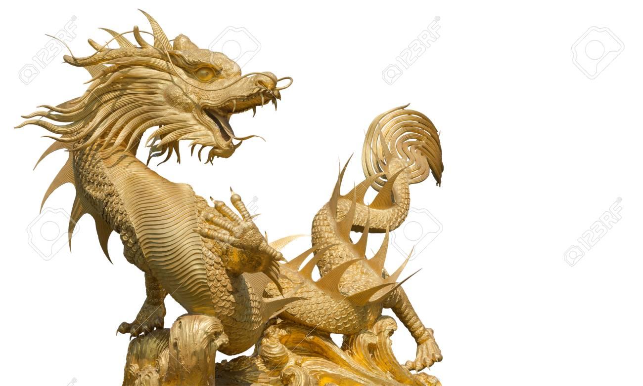 Geant Dragon Chinois Or Partie Ecretage Pour Une Utilisation Facile Banque D Images Et Photos Libres De Droits Image 33982658