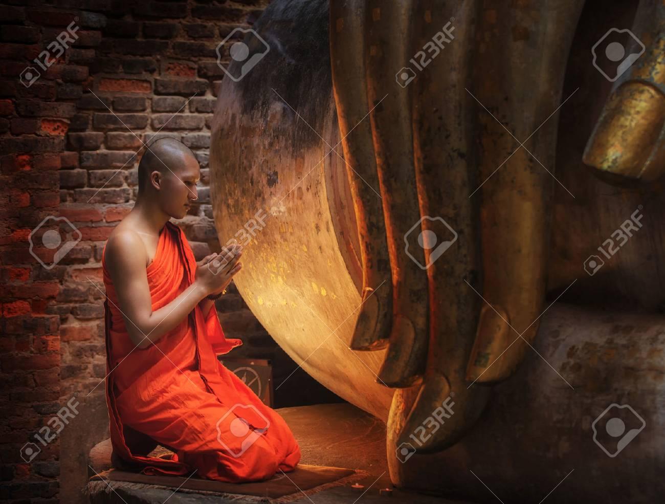 Buddhism Monk sit in the Temple in Thailand. Standard-Bild - 38178468