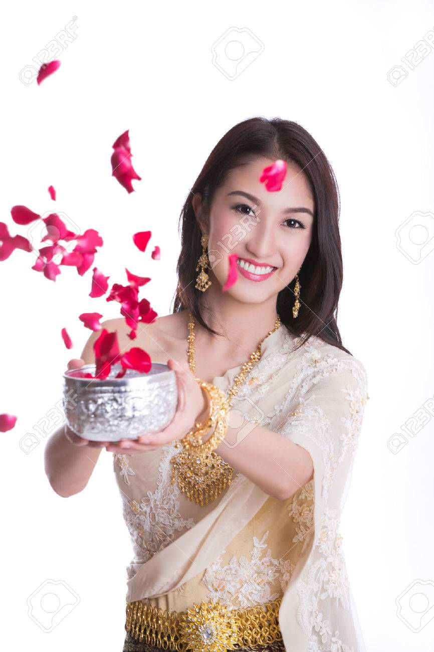 Songkran stock photos royalty free business images traditional costume of thailand and songkran festival concept with white isolated background kristyandbryce Choice Image