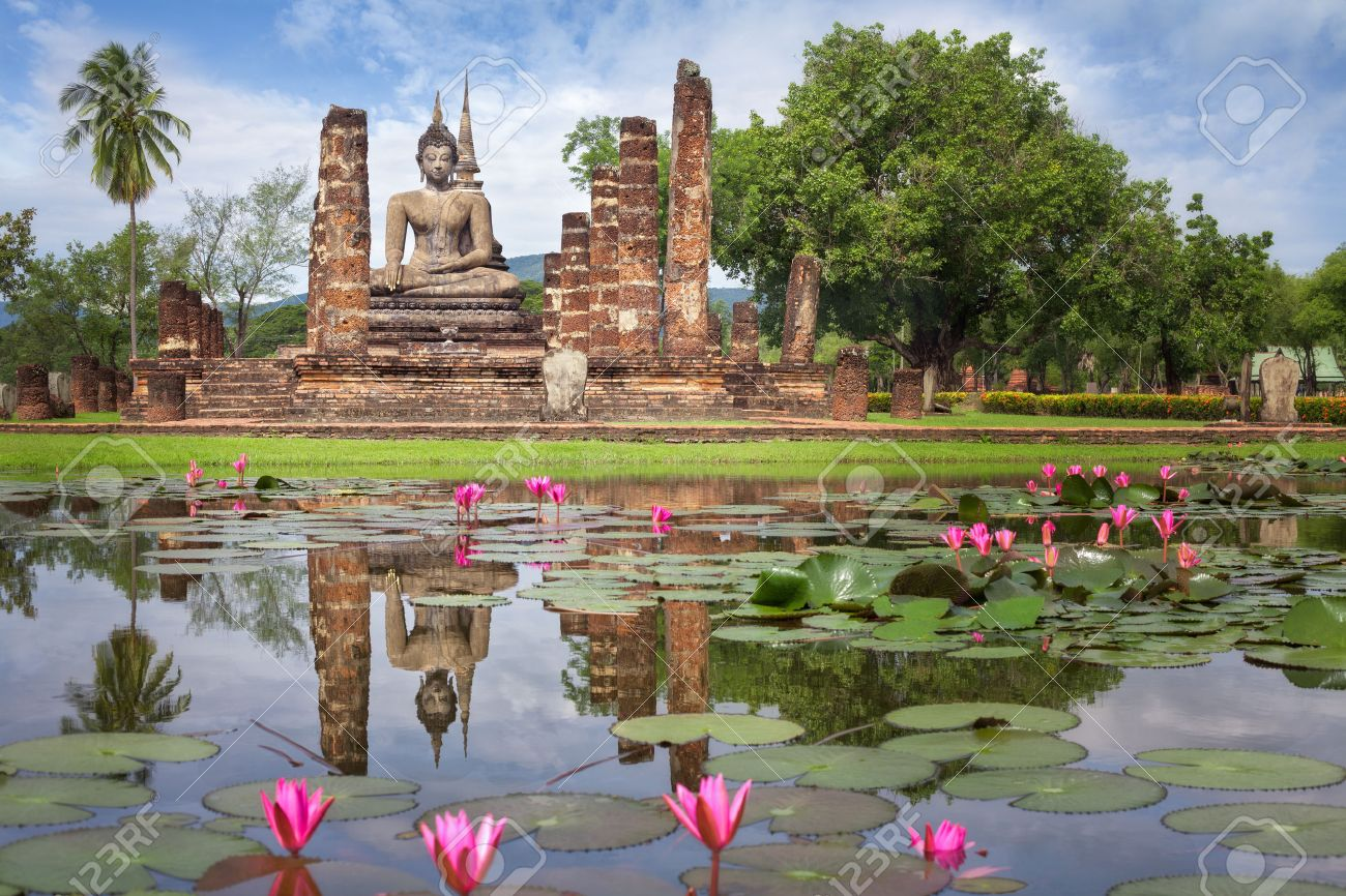 Buddha Statue at Wat Mahathat in Sukhothai Historical Park,Thailand - 42199215