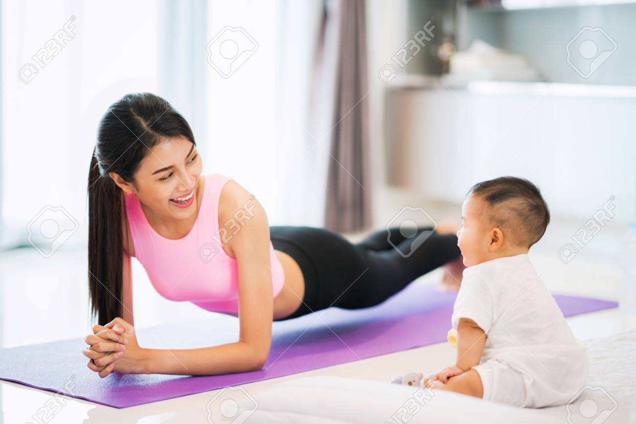 Asian mother fit and play yoga for lose weight after delivery asian mother fit and play yoga for lose weight after delivery a new born baby in ccuart Choice Image