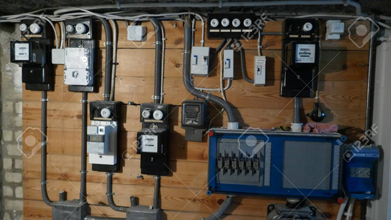 electrical fuse boxes and power lines in the basement of an old  old apartment fuse box #7