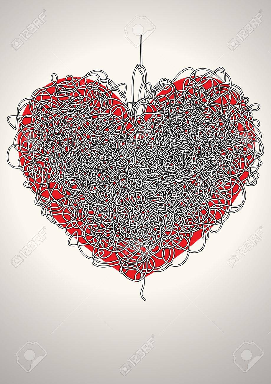 maze in the shape of a heart Stock Vector - 10490974